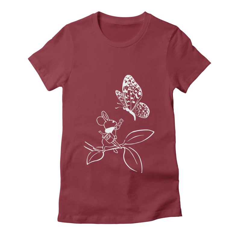 Moss - Quill & Butterfly (Outline) Women's T-Shirt by polyarc games