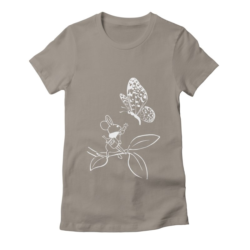 Moss - Quill & Butterfly (Outline) Women's Fitted T-Shirt by polyarc games