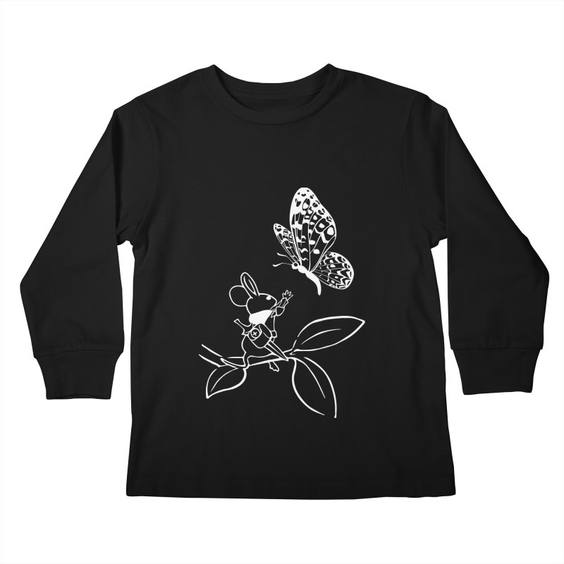 Moss - Quill & Butterfly (Outline) Kids Longsleeve T-Shirt by polyarc games