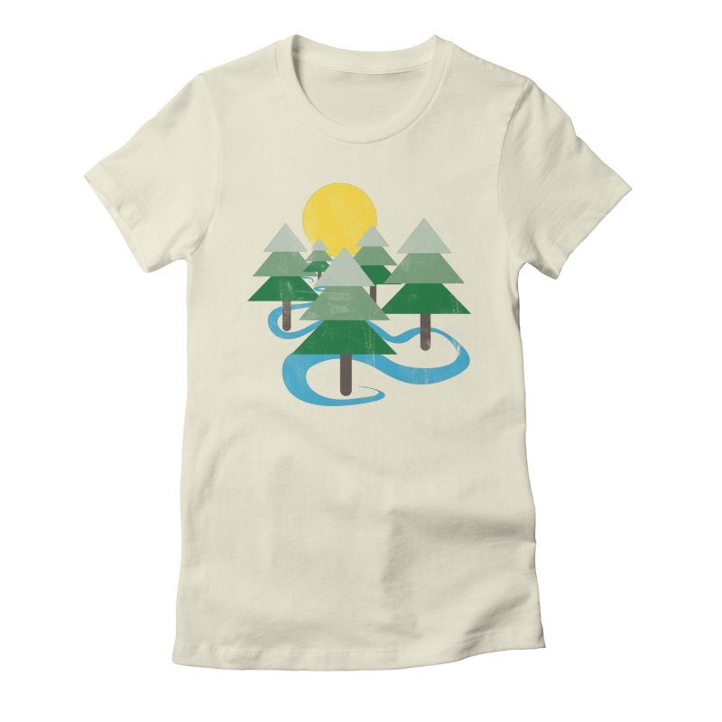 Minimalist Forest Women's Fitted T-Shirt by