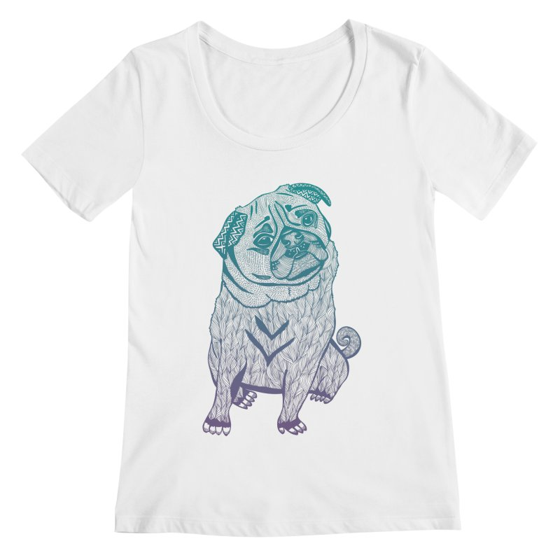 Ares The Pug Women's Scoopneck by pomgraphicdesign's Shop