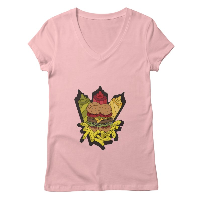 Awesome Burger Women's V-Neck by Pony Biam!