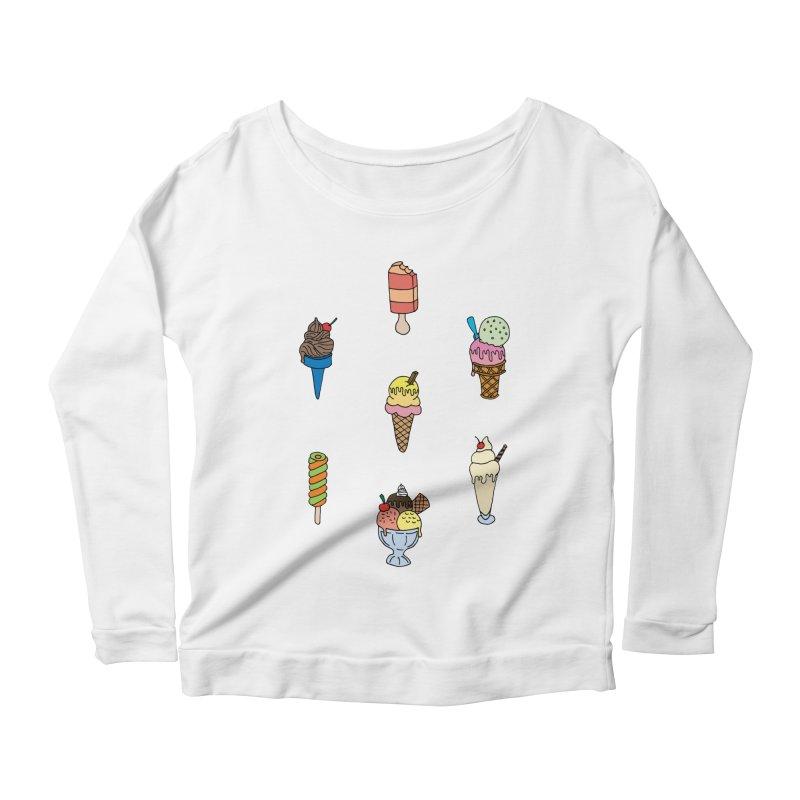 Ice Creams! Women's Longsleeve Scoopneck  by Pony Biam!