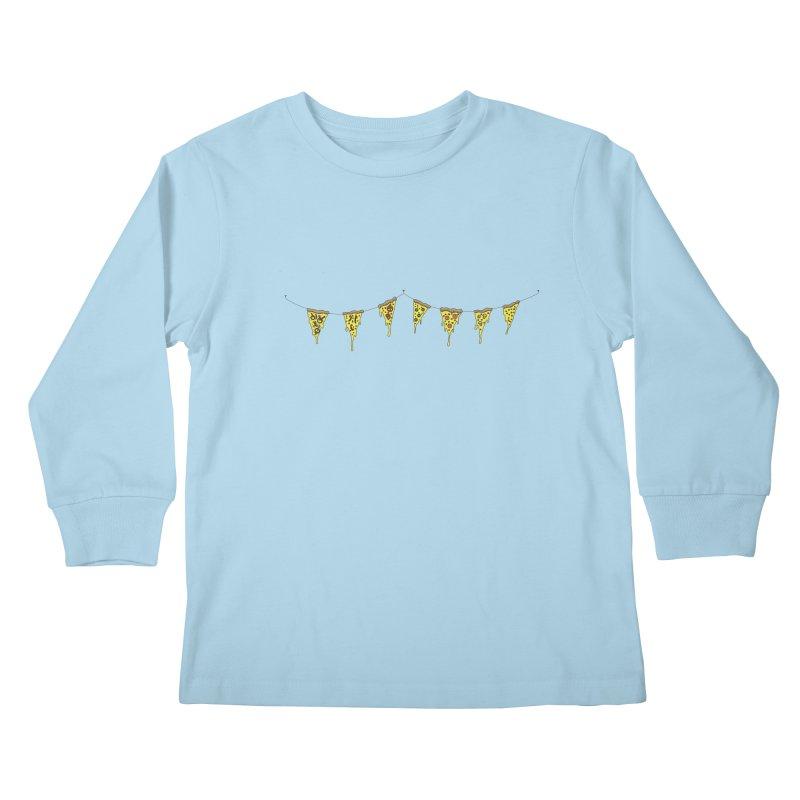 Pizza Pennants Kids Longsleeve T-Shirt by Pony Biam!