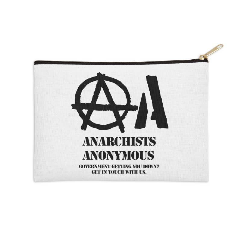 Anarchists Anonymous - Black Lettering Accessories Zip Pouch by Strange Menagerie