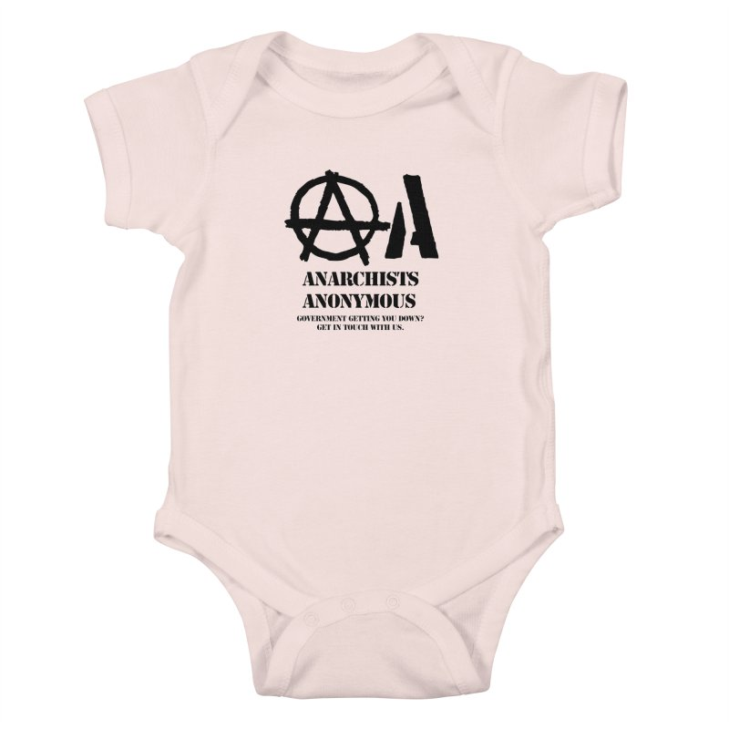 Anarchists Anonymous - Black Lettering Kids Baby Bodysuit by Strange Menagerie