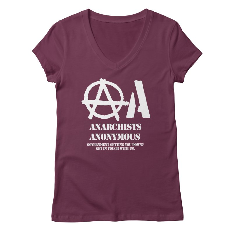 Anarchists Anonymous - White Lettering Women's V-Neck by Strange Menagerie