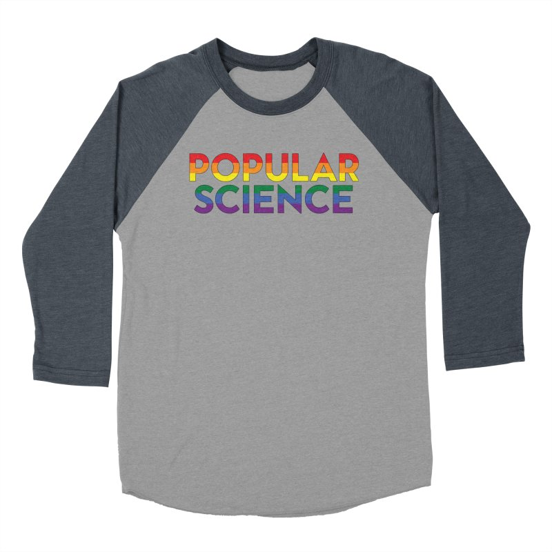 LIMITED EDITION: Popular Science Logo - Pride in Men's Baseball Triblend Longsleeve T-Shirt Navy Sleeves by Popular Science Shop