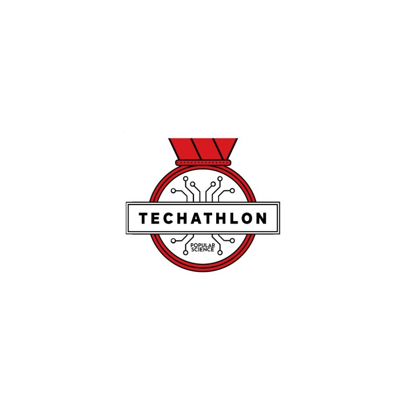 """Techathlon"" Logo Sticker by Popular Science Shop"