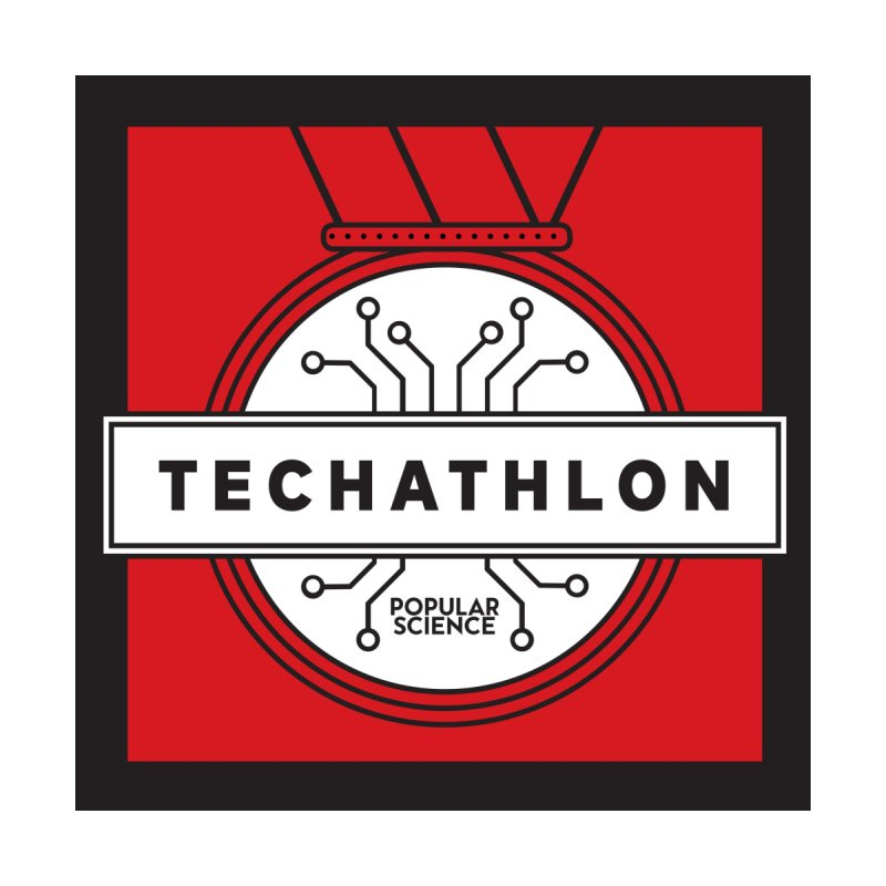 """Techathlon"" Logo Tote Accessories Bag by Popular Science Shop"