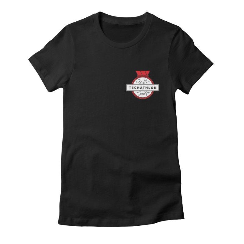 """Techathlon"" Logo Tee in Women's Fitted T-Shirt Black by Popular Science Shop"