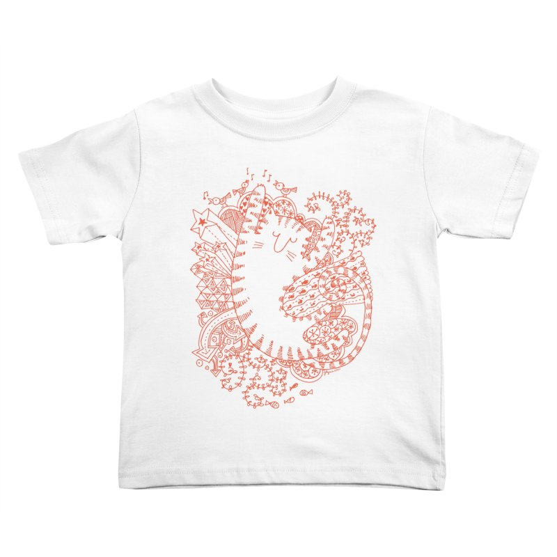 Dreaming Cat in Kids Toddler T-Shirt White by poptastictees's Artist Shop