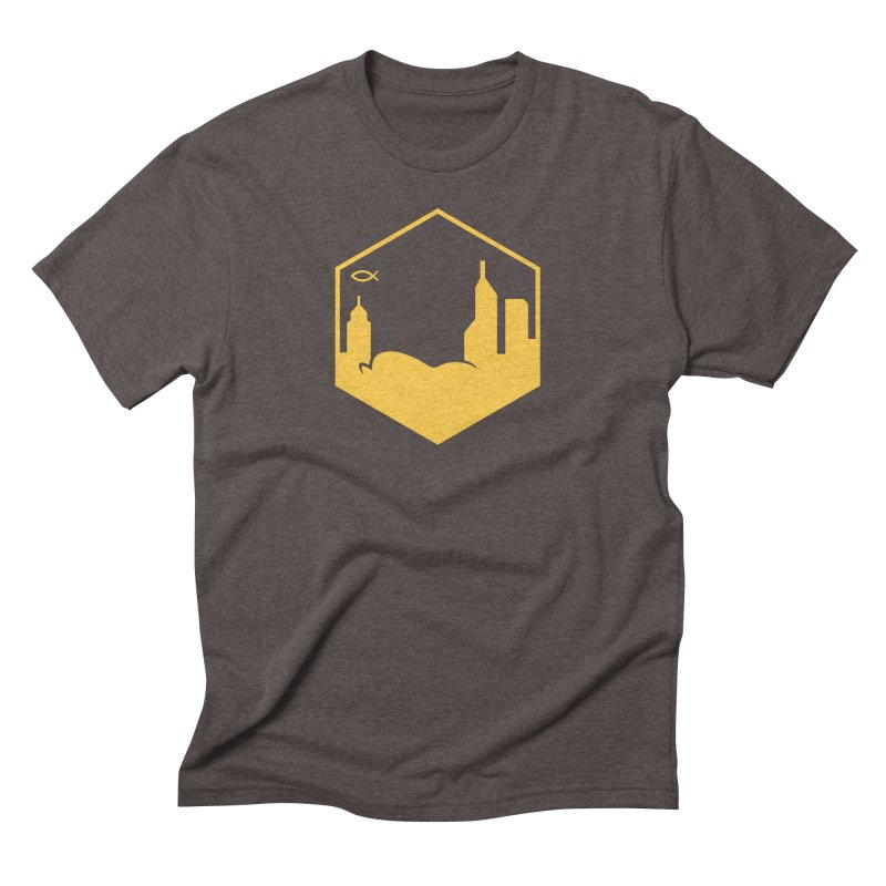 Hexagon Yellow Men's T-Shirt by The Porch
