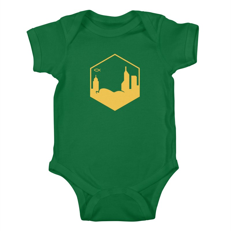 Hexagon Yellow Kids Baby Bodysuit by The Porch