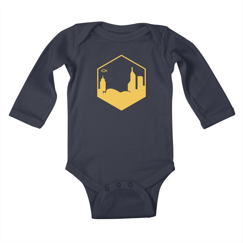 Hexagon Yellow Kids Baby Longsleeve Bodysuit by The Porch