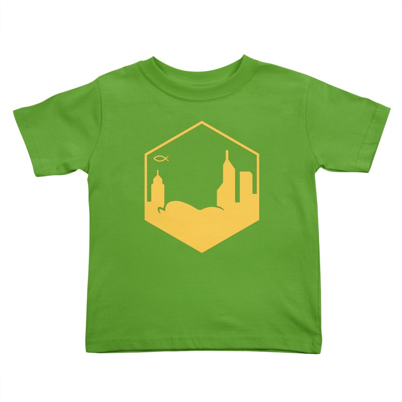 Hexagon Yellow Kids Toddler T-Shirt by The Porch