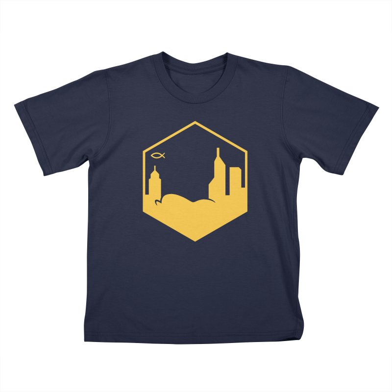 Hexagon Yellow Kids T-Shirt by The Porch