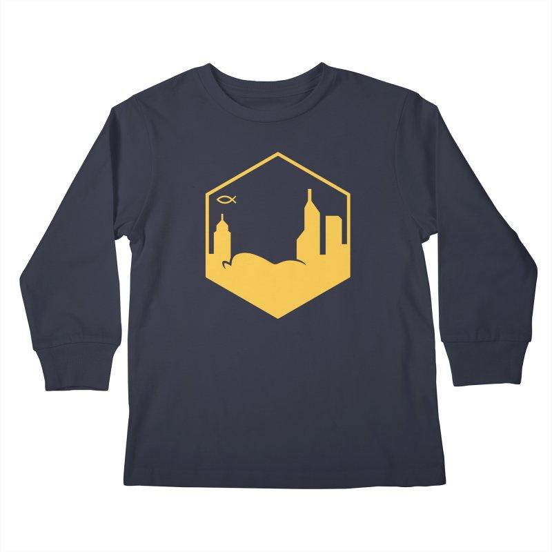 Hexagon Yellow Kids Longsleeve T-Shirt by The Porch