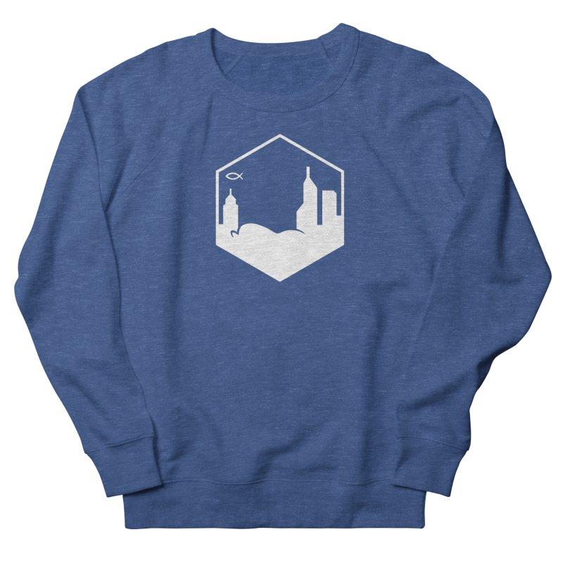 Hexagon White Men's Sweatshirt by The Porch