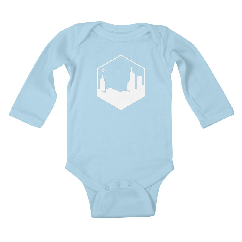 Hexagon White Kids Baby Longsleeve Bodysuit by The Porch