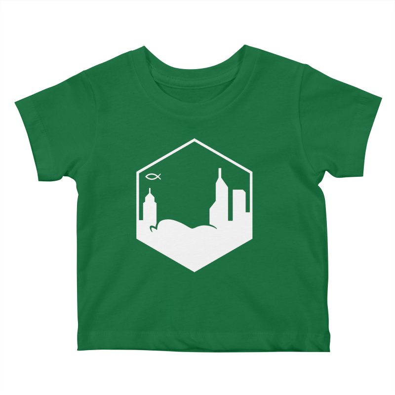 Hexagon White Kids Baby T-Shirt by The Porch