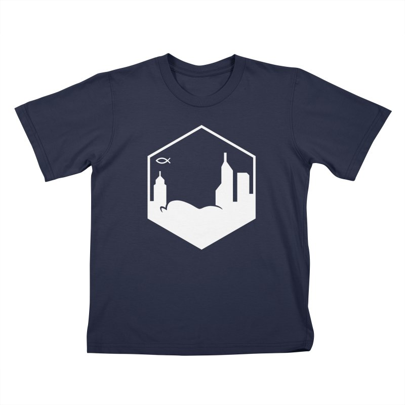 Hexagon White Kids T-Shirt by The Porch