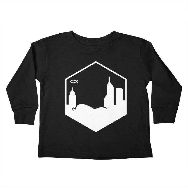 Hexagon White Kids Toddler Longsleeve T-Shirt by The Porch