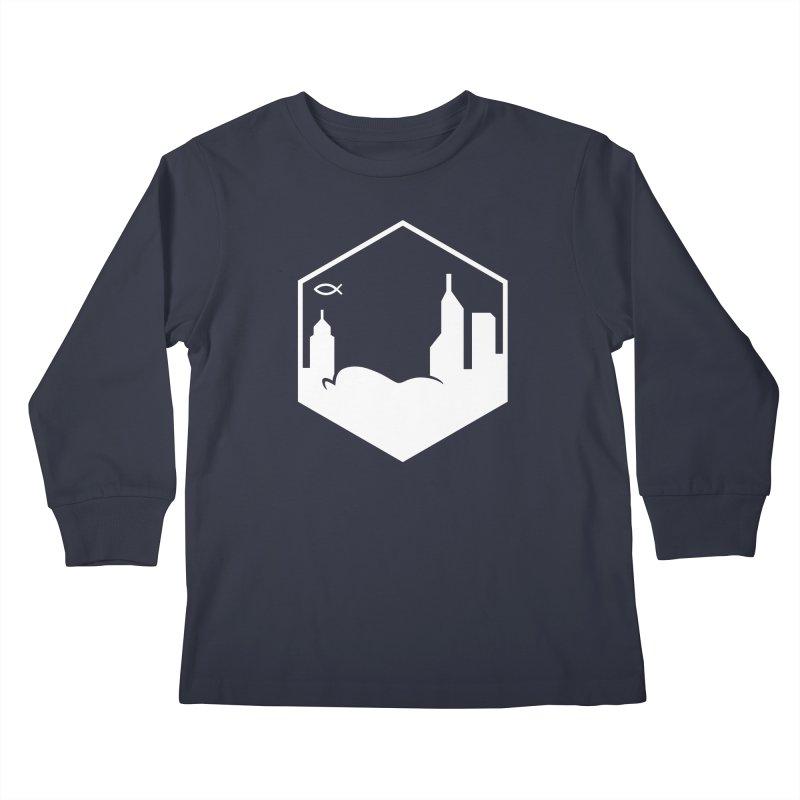 Hexagon White Kids Longsleeve T-Shirt by The Porch