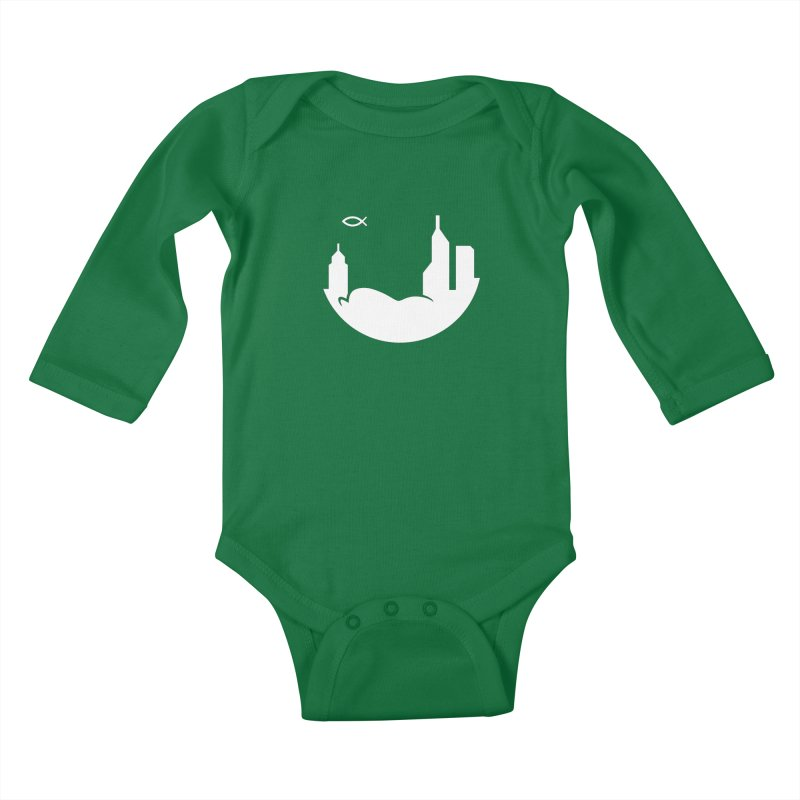 Round White Kids Baby Longsleeve Bodysuit by The Porch