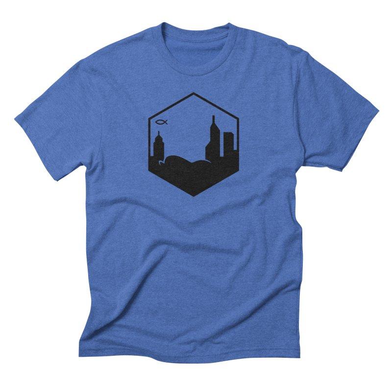 Hexagon Black Men's T-Shirt by The Porch