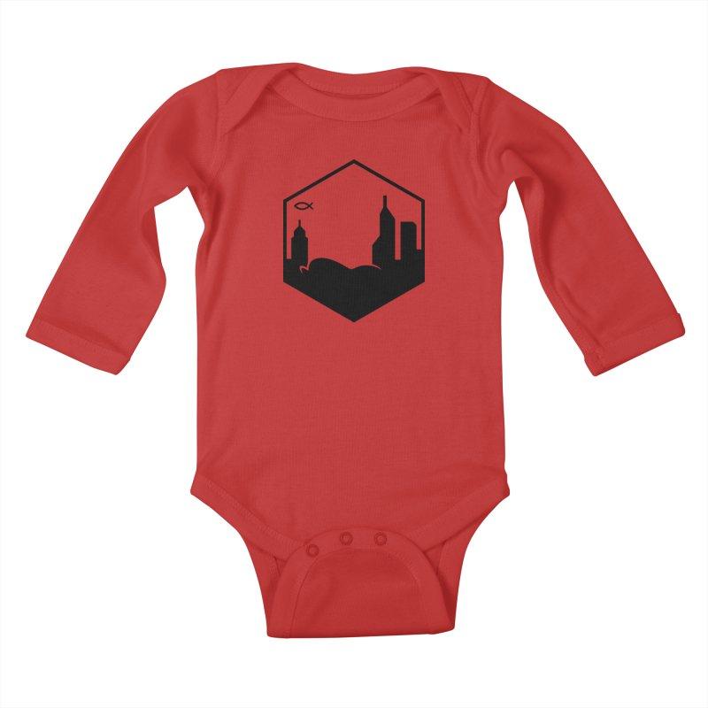 Hexagon Black Kids Baby Longsleeve Bodysuit by The Porch