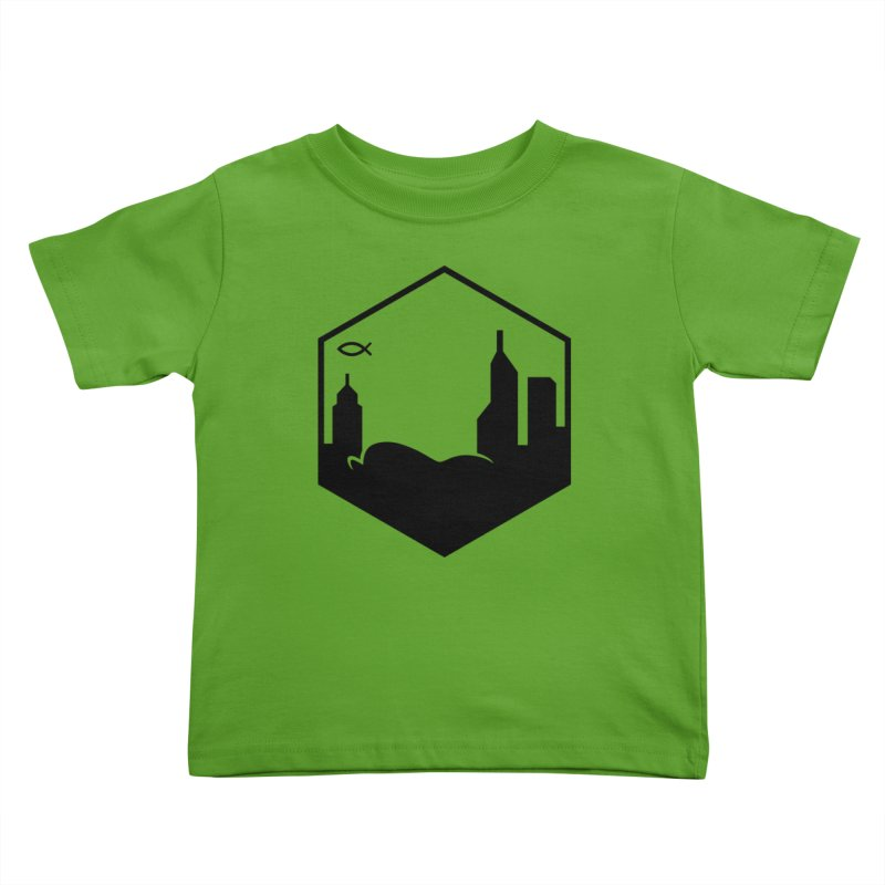 Hexagon Black Kids Toddler T-Shirt by The Porch
