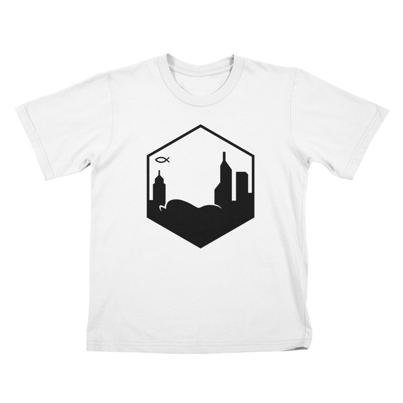 Hexagon Black Kids T-Shirt by The Porch