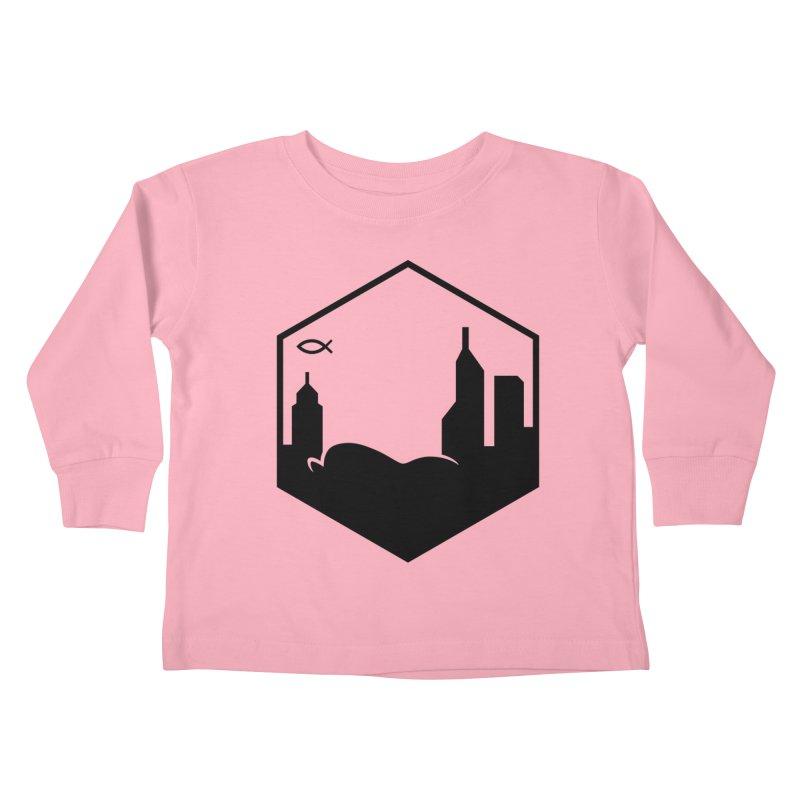 Hexagon Black Kids Toddler Longsleeve T-Shirt by The Porch