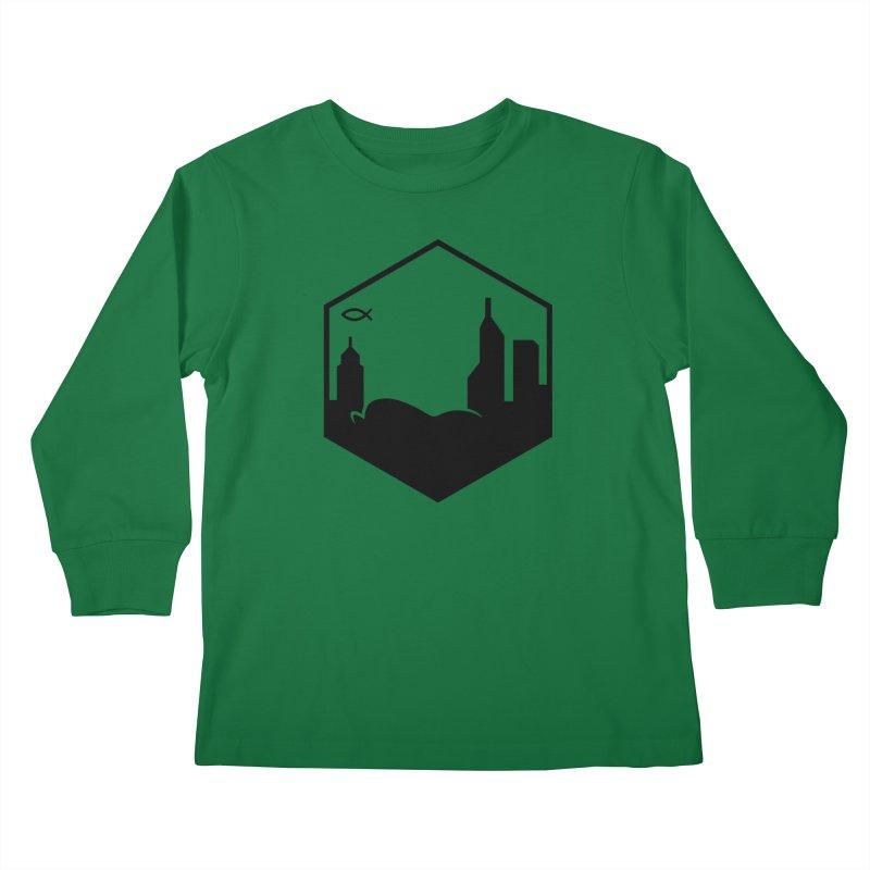 Hexagon Black Kids Longsleeve T-Shirt by The Porch