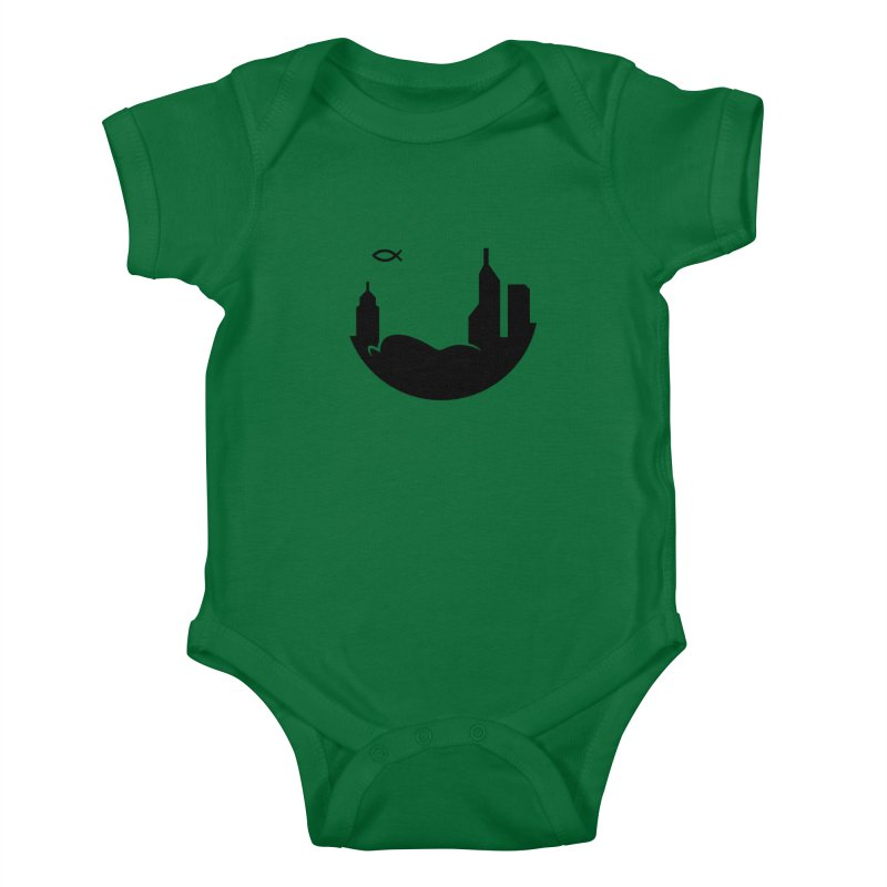 Round Black Kids Baby Bodysuit by The Porch