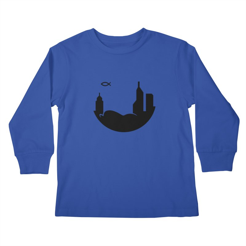 Round Black Kids Longsleeve T-Shirt by The Porch