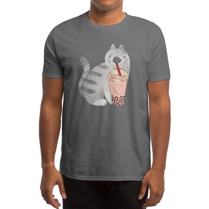 Aesthetic Cat Drinking Bob : best cat illustration drinking a cream boba. Men's T-Shirt by poshprintsbybee's Artist Shop