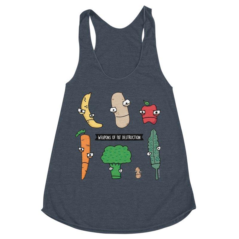 Weapons of Fat Destruction Shirts Women's Racerback Triblend Tank by Potato Wisdom's Artist Shop