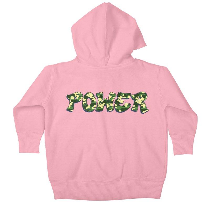 POWER - Camo Green Kids Baby Zip-Up Hoody by Power Artist Shop