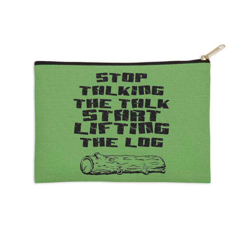 Stop Talking the Talk (black) Accessories Zip Pouch by Power Artist Shop