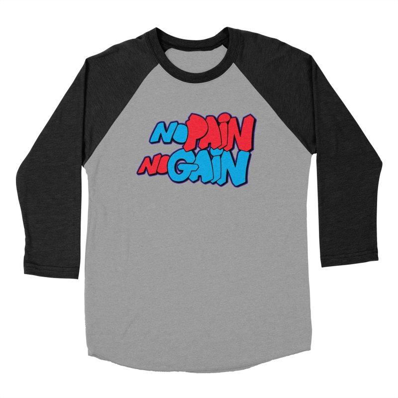 No Pain No Gain Men's Baseball Triblend Longsleeve T-Shirt by Power Artist Shop