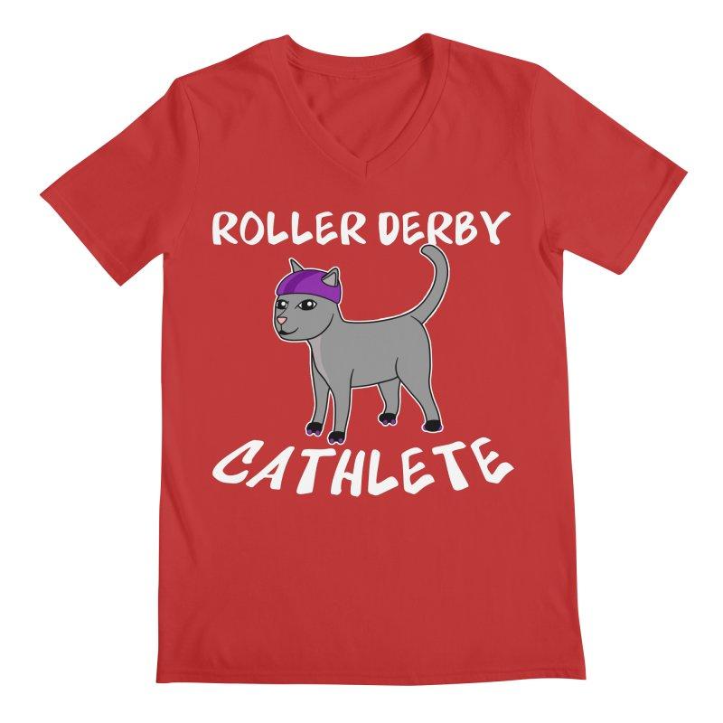 Roller Derby Cathlete Men's V-Neck by Power Thru the 4th Whistle Roller Derby Podcast