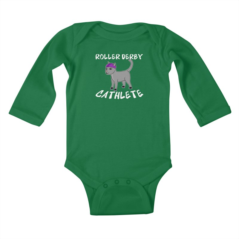 Roller Derby Cathlete Kids Baby Longsleeve Bodysuit by Power Thru the 4th Whistle Roller Derby Podcast