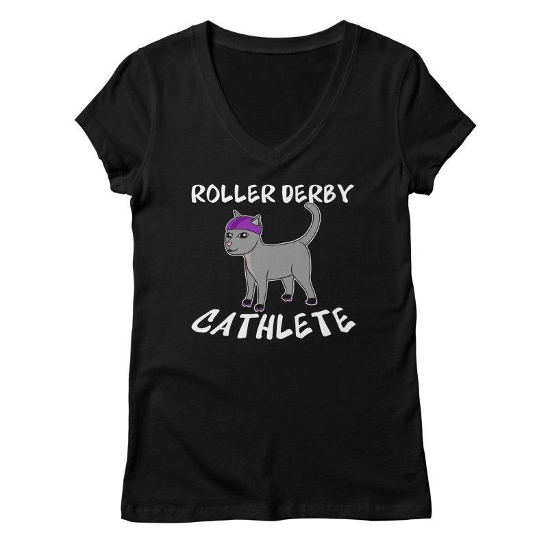 Roller Derby Cathlete Women's V-Neck by Power Thru the 4th Whistle Roller Derby Podcast