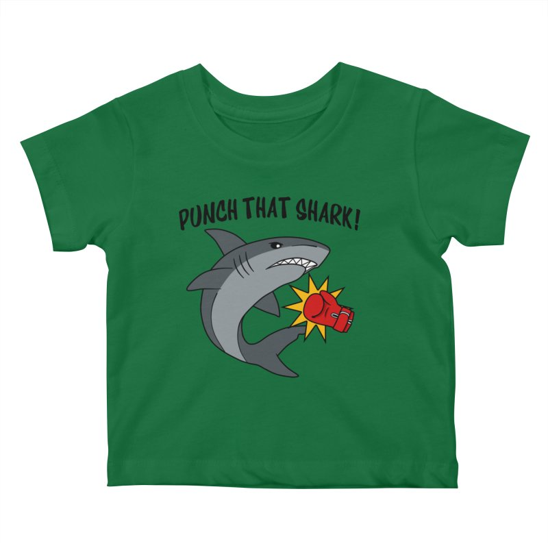 Punch That Shark Kids Baby T-Shirt by Power Thru the 4th Whistle Roller Derby Podcast