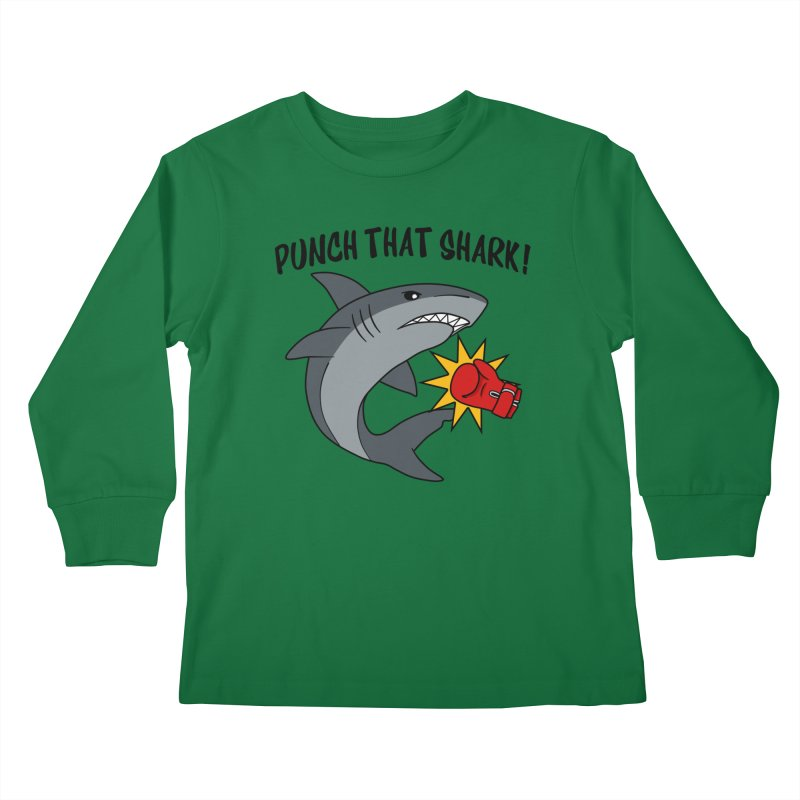 Punch That Shark Kids Longsleeve T-Shirt by Power Thru the 4th Whistle Roller Derby Podcast