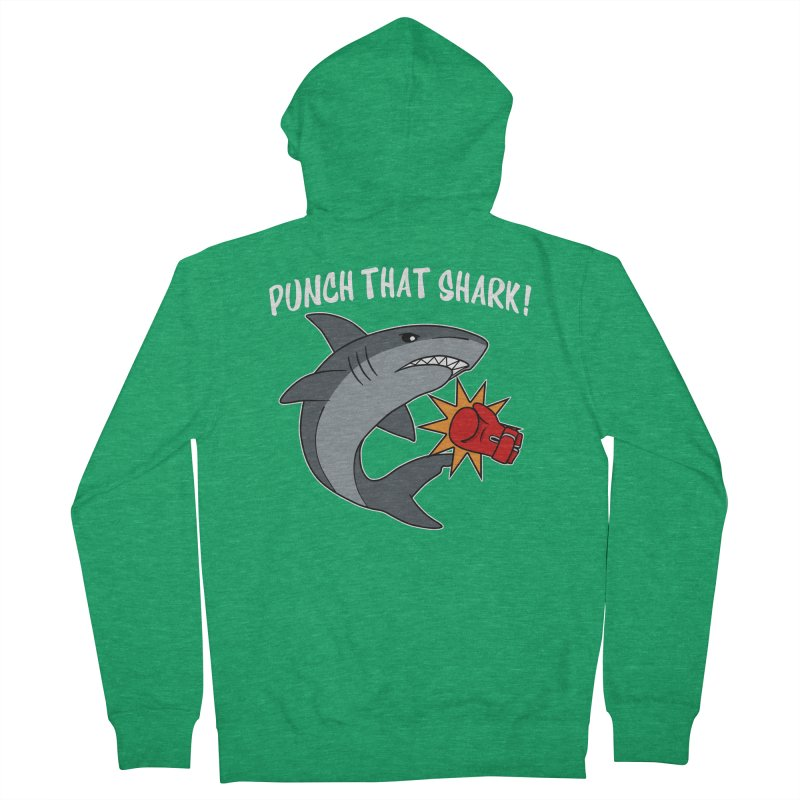 Punch That Shark Women's Zip-Up Hoody by Power Thru the 4th Whistle Roller Derby Podcast
