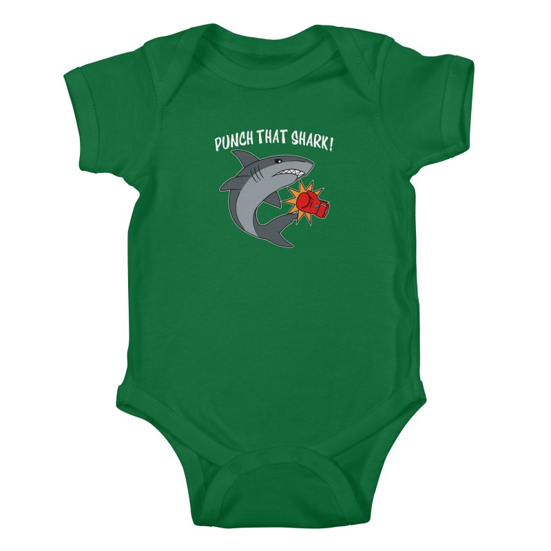 Punch That Shark Kids Baby Bodysuit by Power Thru the 4th Whistle Roller Derby Podcast