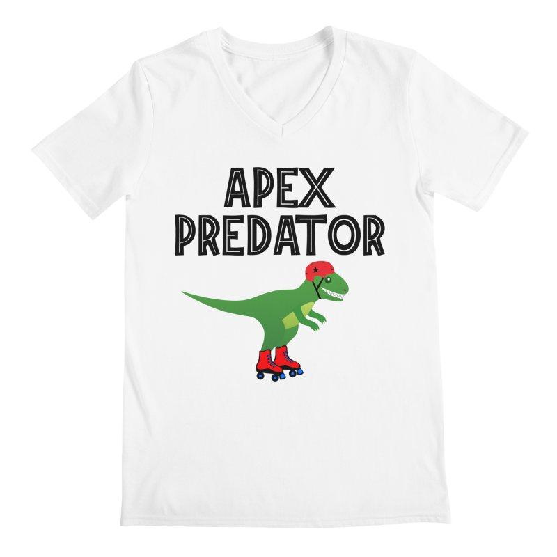 Apex Predator T-Rex Roller Derby Jammer Men's V-Neck by Power Thru the 4th Whistle Roller Derby Podcast